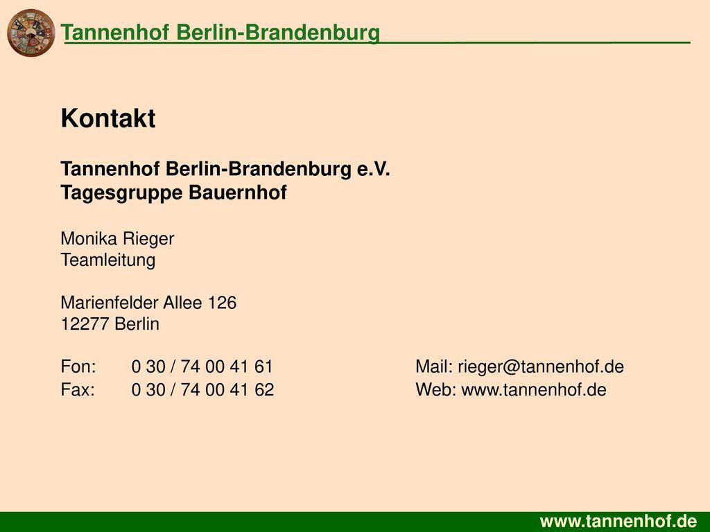 Kontakt Tannenhof Berlin-Brandenburg Tannenhof Berlin-Brandenburg e.V.