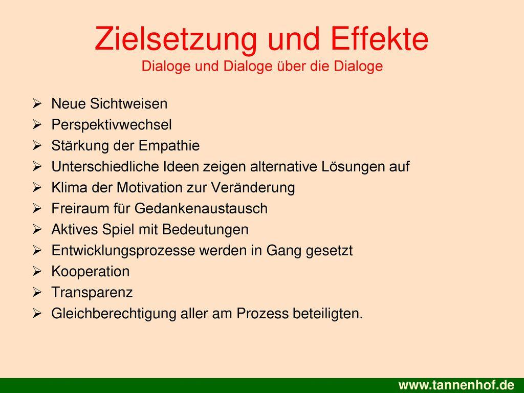 Zielsetzung und Effekte Dialoge und Dialoge über die Dialoge