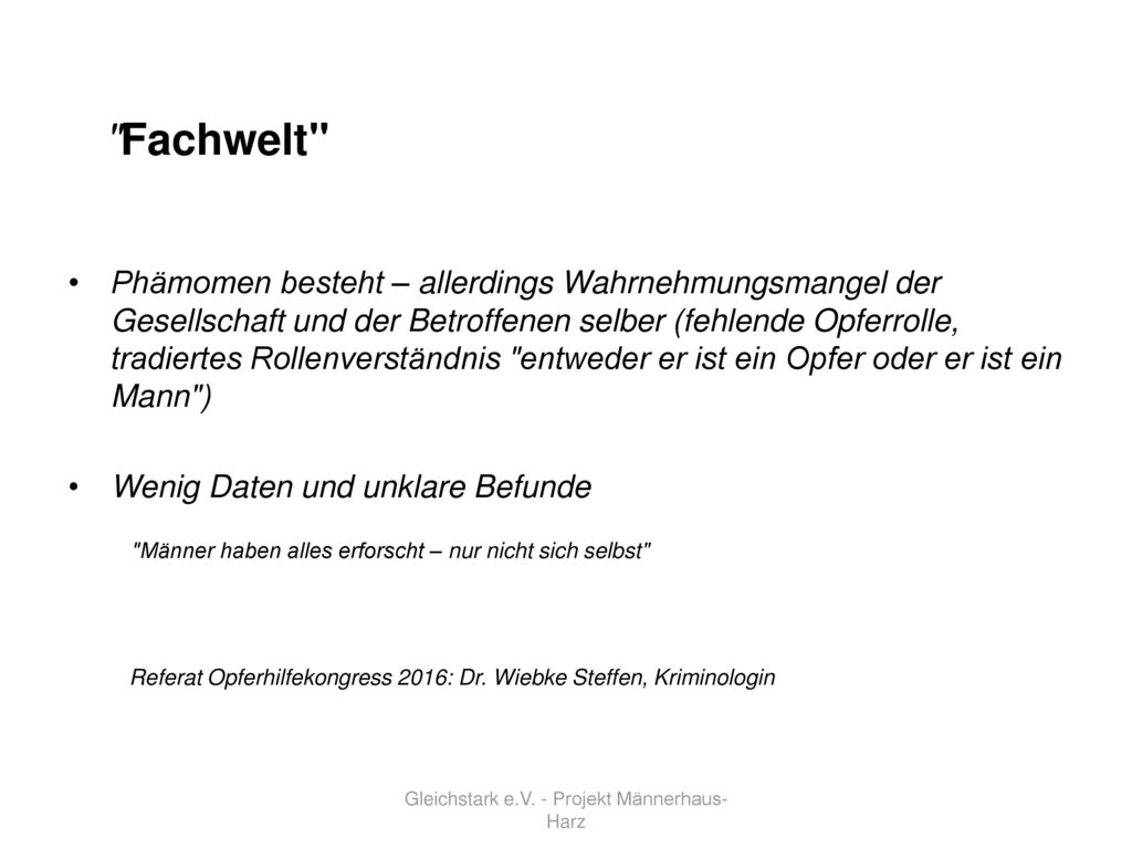 Gleichstark e.V. - Projekt Männerhaus-Harz