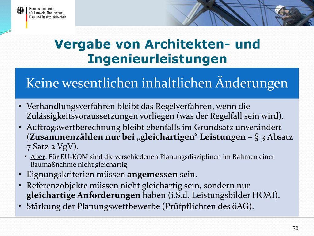 Vergabe von Architekten- und Ingenieurleistungen