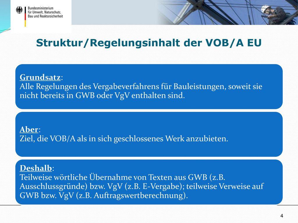 Struktur/Regelungsinhalt der VOB/A EU