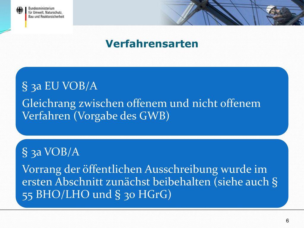 Verfahrensarten § 3a EU VOB/A. Gleichrang zwischen offenem und nicht offenem Verfahren (Vorgabe des GWB)