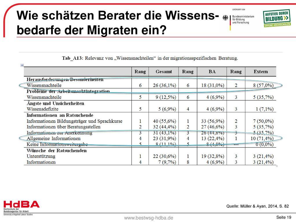 Wie schätzen Berater die Wissens- bedarfe der Migraten ein