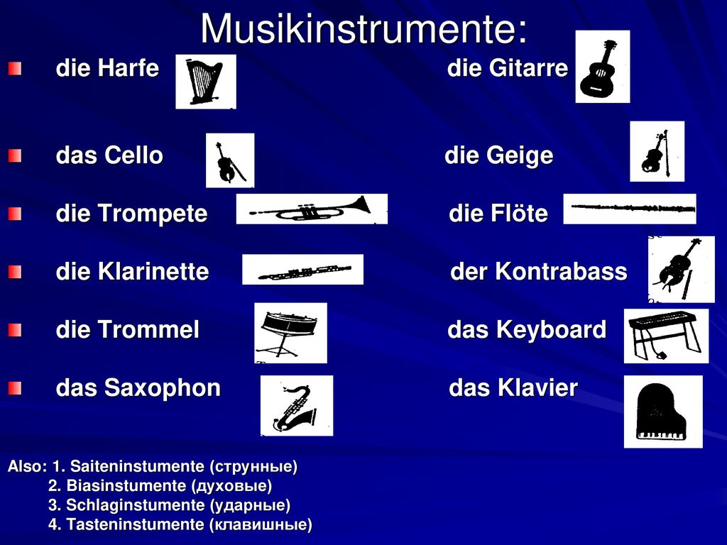 Musikinstrumente: die Harfe die Gitarre das Cello die Geige