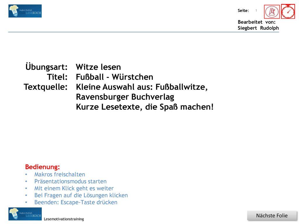 Kleine Auswahl aus: Fußballwitze, Ravensburger Buchverlag