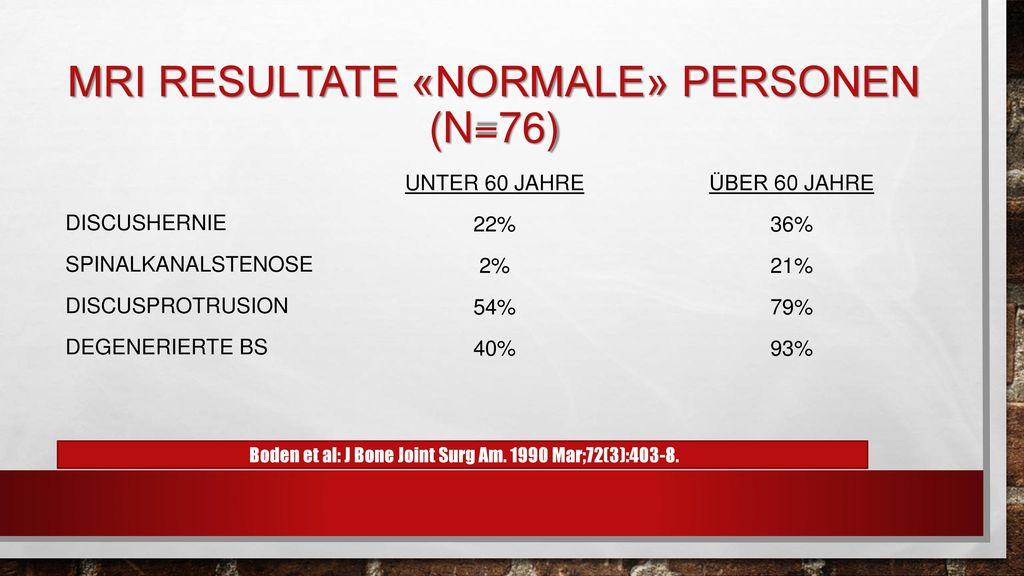 MRI Resultate «normale» Personen (n=76)