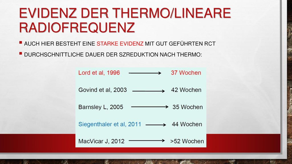 Evidenz der Thermo/lineare Radiofrequenz