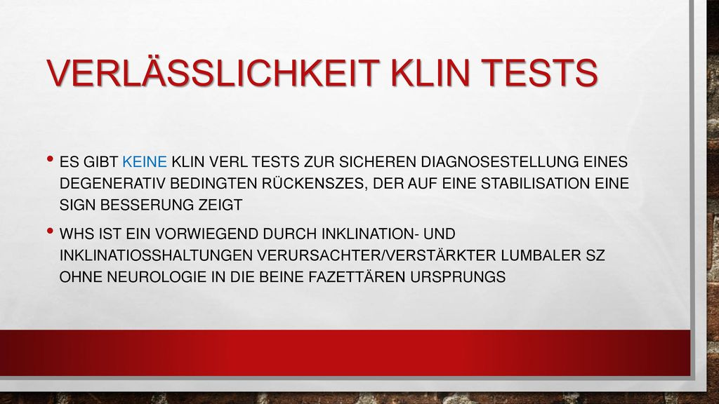 Verlässlichkeit klin tests