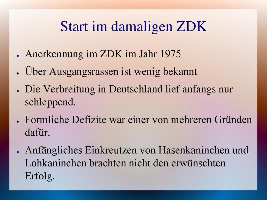 Start im damaligen ZDK Anerkennung im ZDK im Jahr 1975