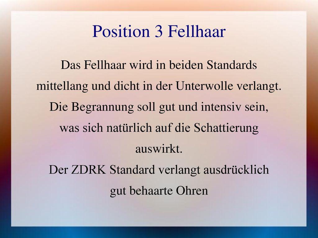 Position 3 Fellhaar Das Fellhaar wird in beiden Standards