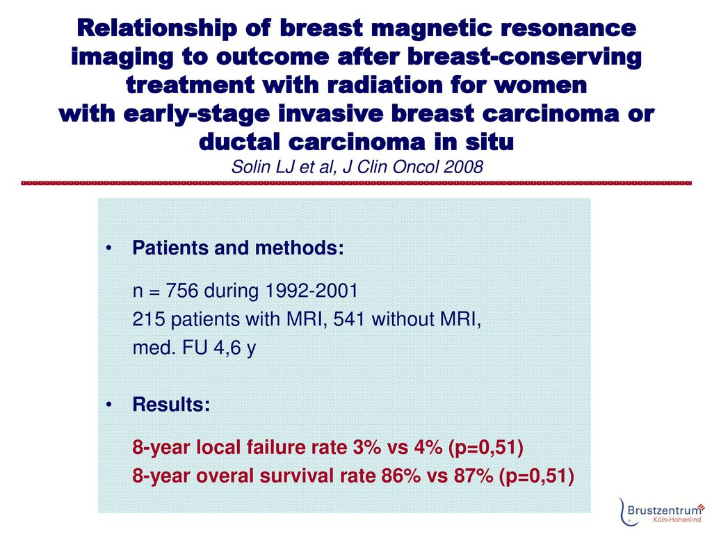 Relationship of breast magnetic resonance imaging to outcome after breast-conserving treatment with radiation for women with early-stage invasive breast carcinoma or ductal carcinoma in situ Solin LJ et al, J Clin Oncol 2008