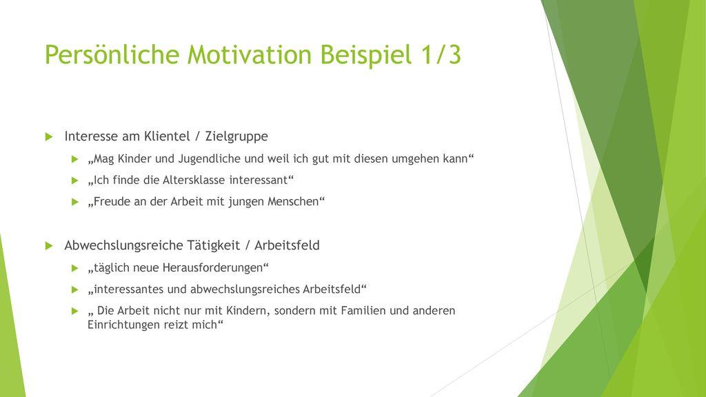 Persönliche Motivation Beispiel 1/3