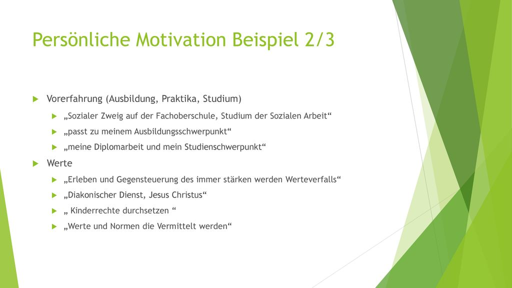 Persönliche Motivation Beispiel 2/3