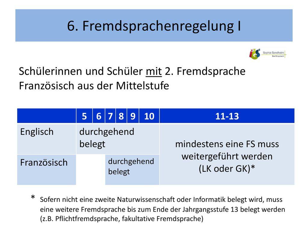 6. Fremdsprachenregelung I