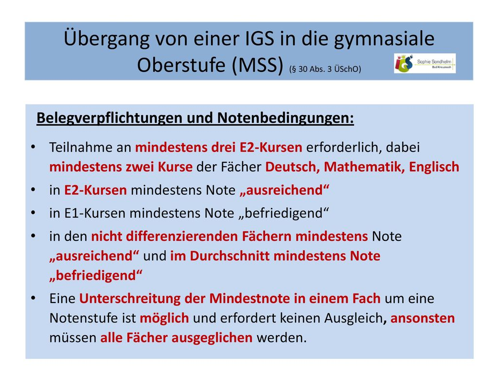 Übergang von einer IGS in die gymnasiale Oberstufe (MSS) (§ 30 Abs