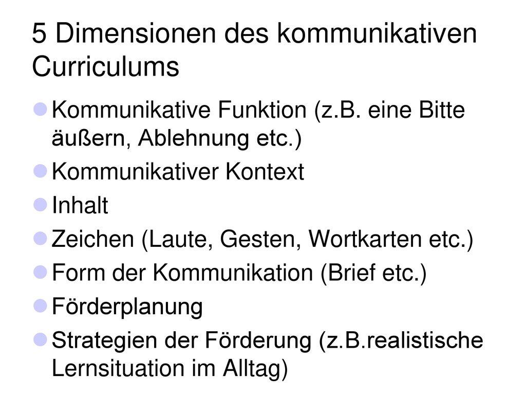 5 Dimensionen des kommunikativen Curriculums