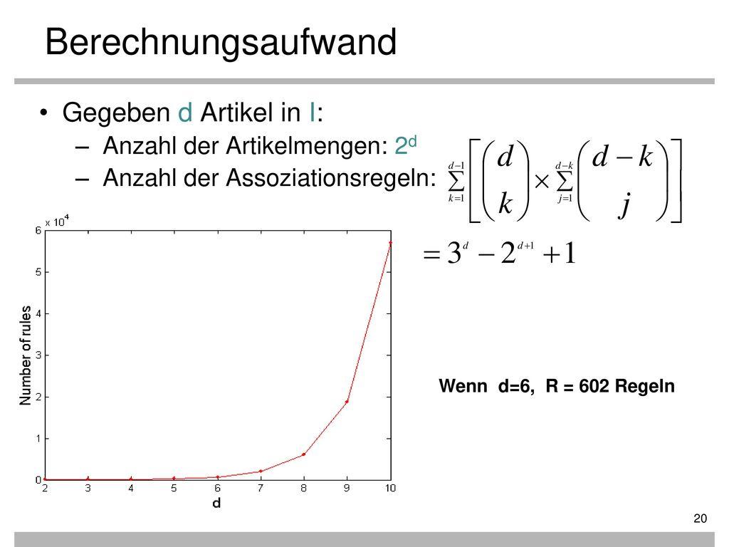 Berechnungsaufwand Gegeben d Artikel in I: