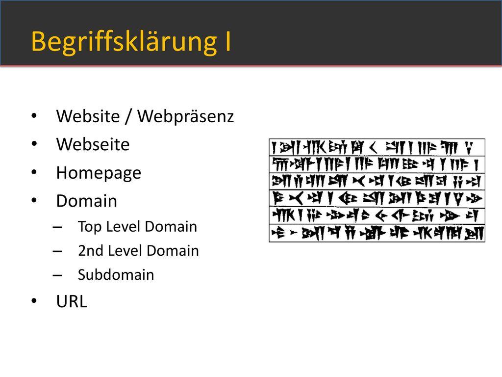 Begriffsklärung I Website / Webpräsenz Webseite Homepage Domain URL