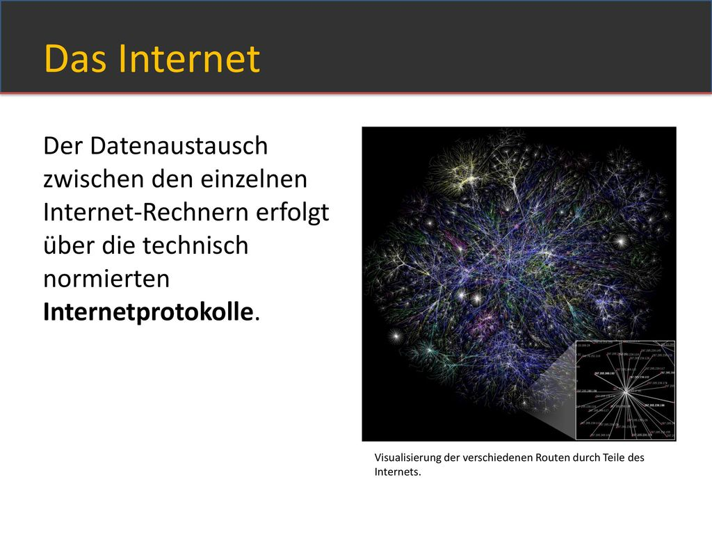 Das Internet Der Datenaustausch zwischen den einzelnen Internet-Rechnern erfolgt über die technisch normierten Internetprotokolle.