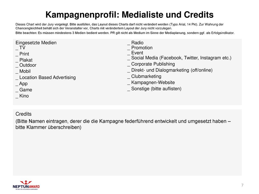 Kampagnenprofil: Medialiste und Credits