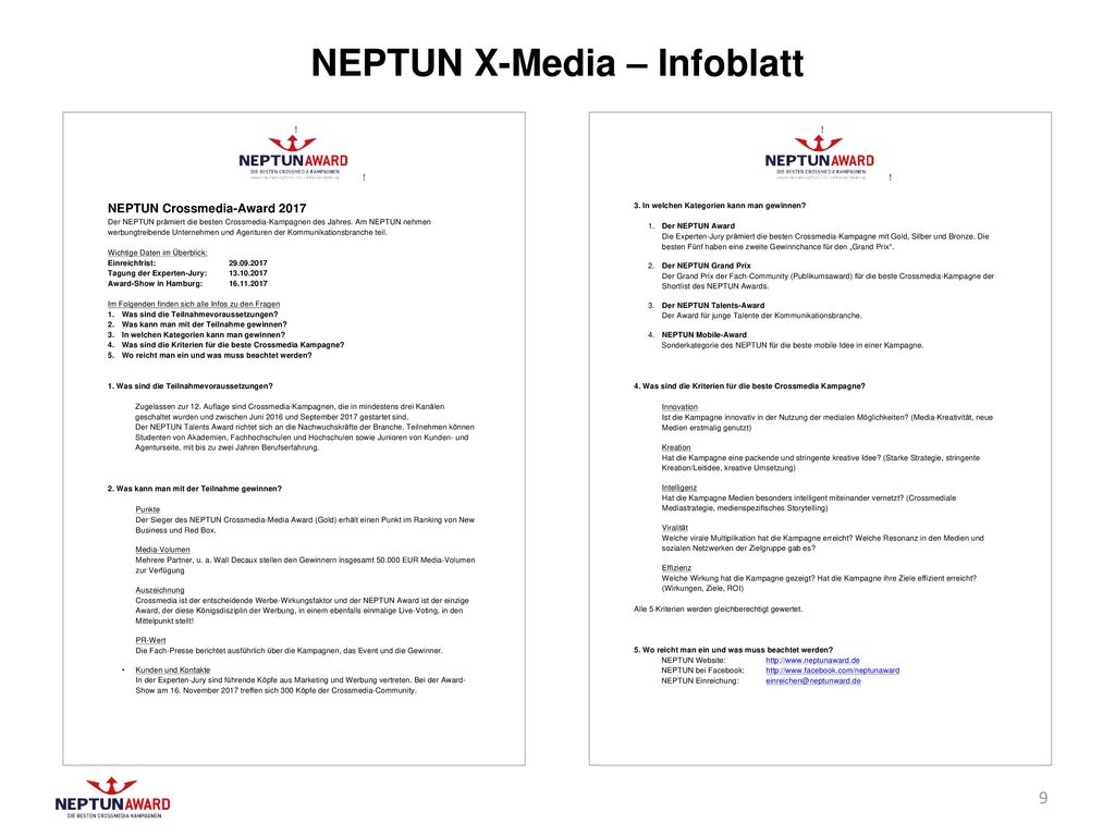 NEPTUN X-Media – Infoblatt