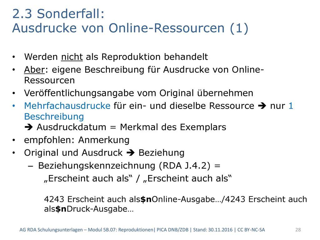 2.3 Sonderfall: Ausdrucke von Online-Ressourcen (1)