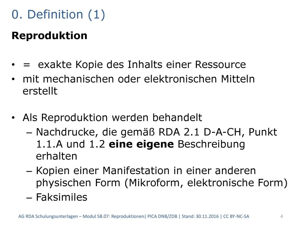 0. Definition (1) Reproduktion