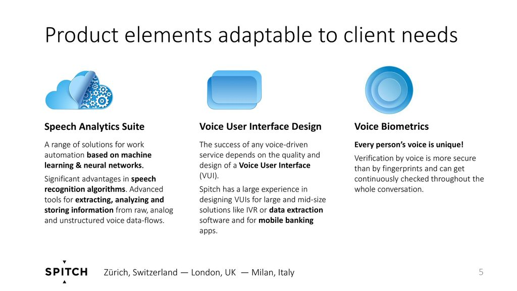 Product elements adaptable to client needs