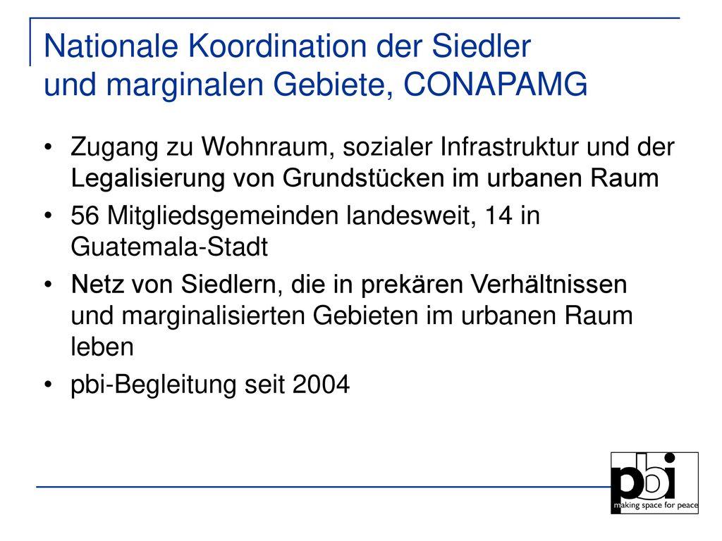Nationale Koordination der Siedler und marginalen Gebiete, CONAPAMG