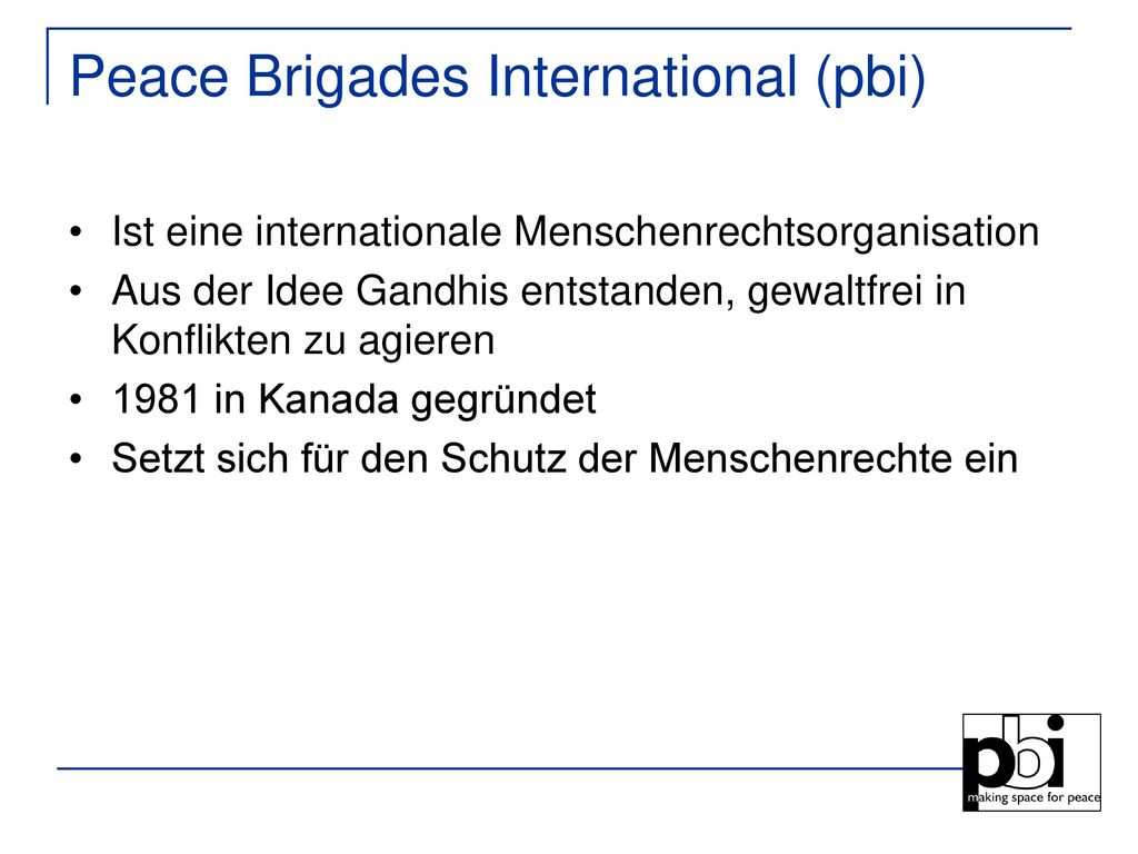 Peace Brigades International (pbi)
