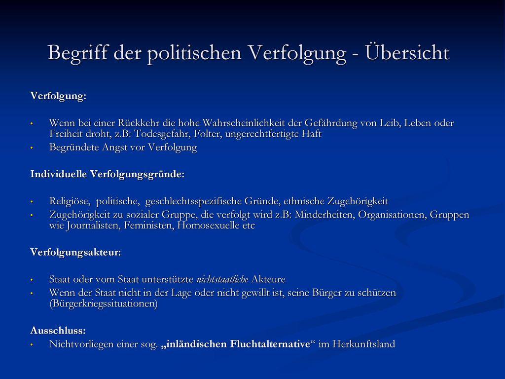 Begriff der politischen Verfolgung - Übersicht
