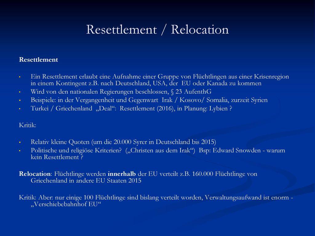 Resettlement / Relocation