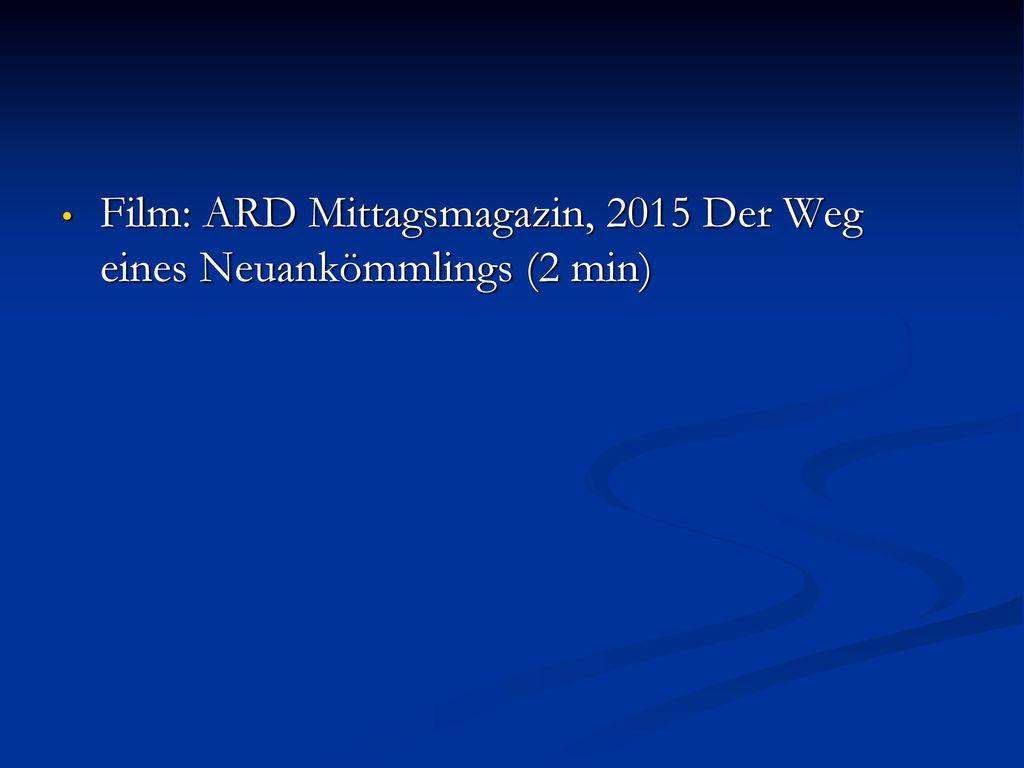 Film: ARD Mittagsmagazin, 2015 Der Weg eines Neuankömmlings (2 min)