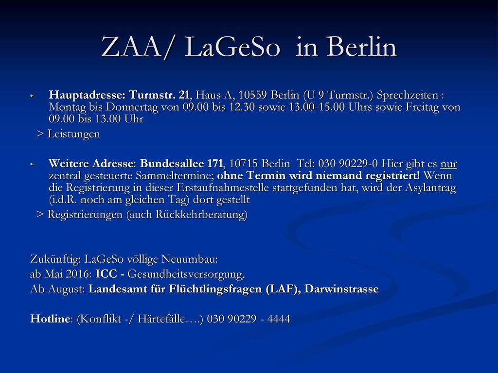 ZAA/ LaGeSo in Berlin