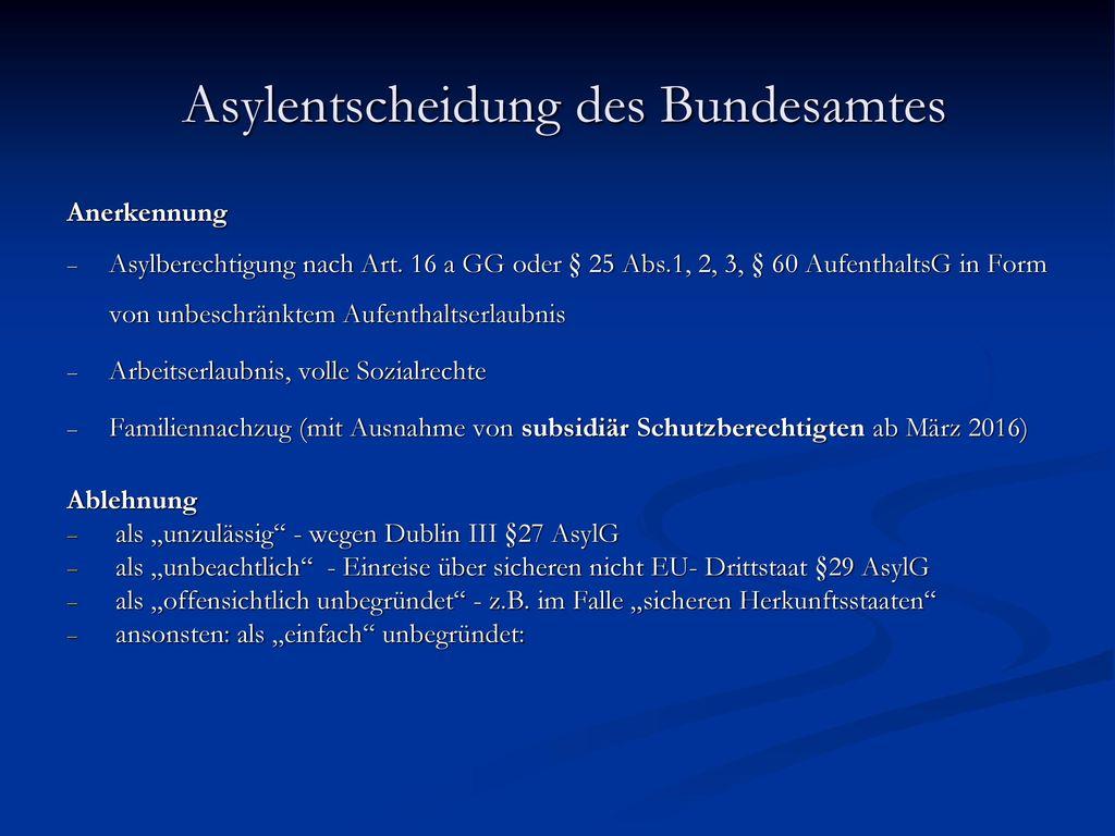Asylentscheidung des Bundesamtes