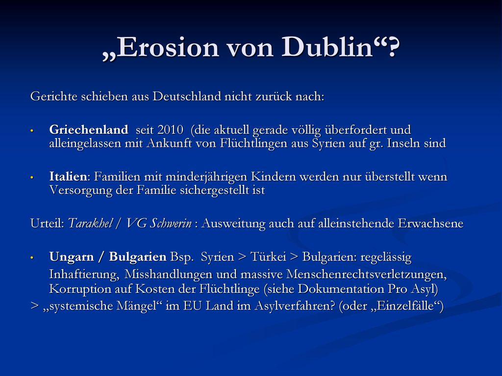 """""""Erosion von Dublin Gerichte schieben aus Deutschland nicht zurück nach:"""
