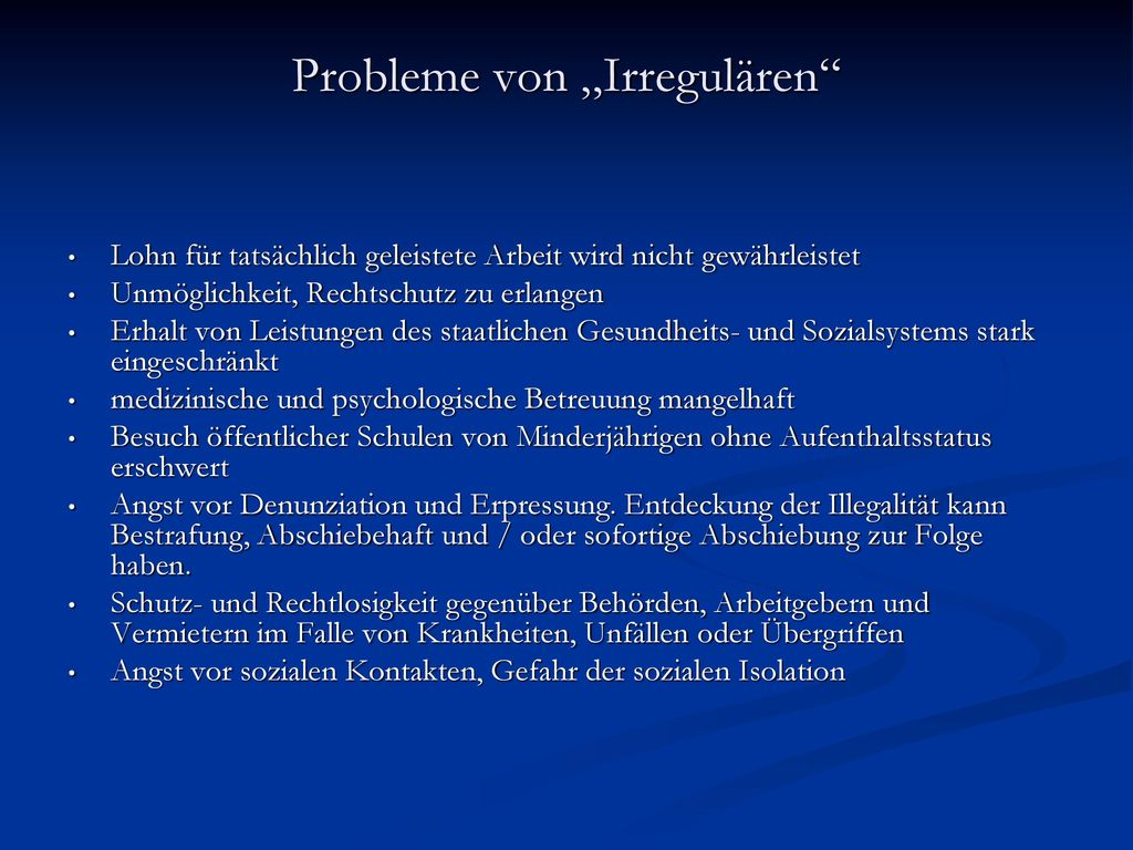 """Probleme von """"Irregulären"""