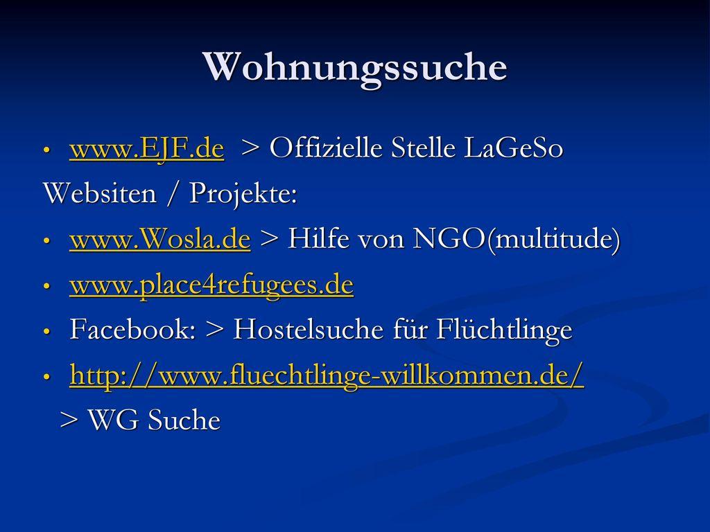 Wohnungssuche www.EJF.de > Offizielle Stelle LaGeSo