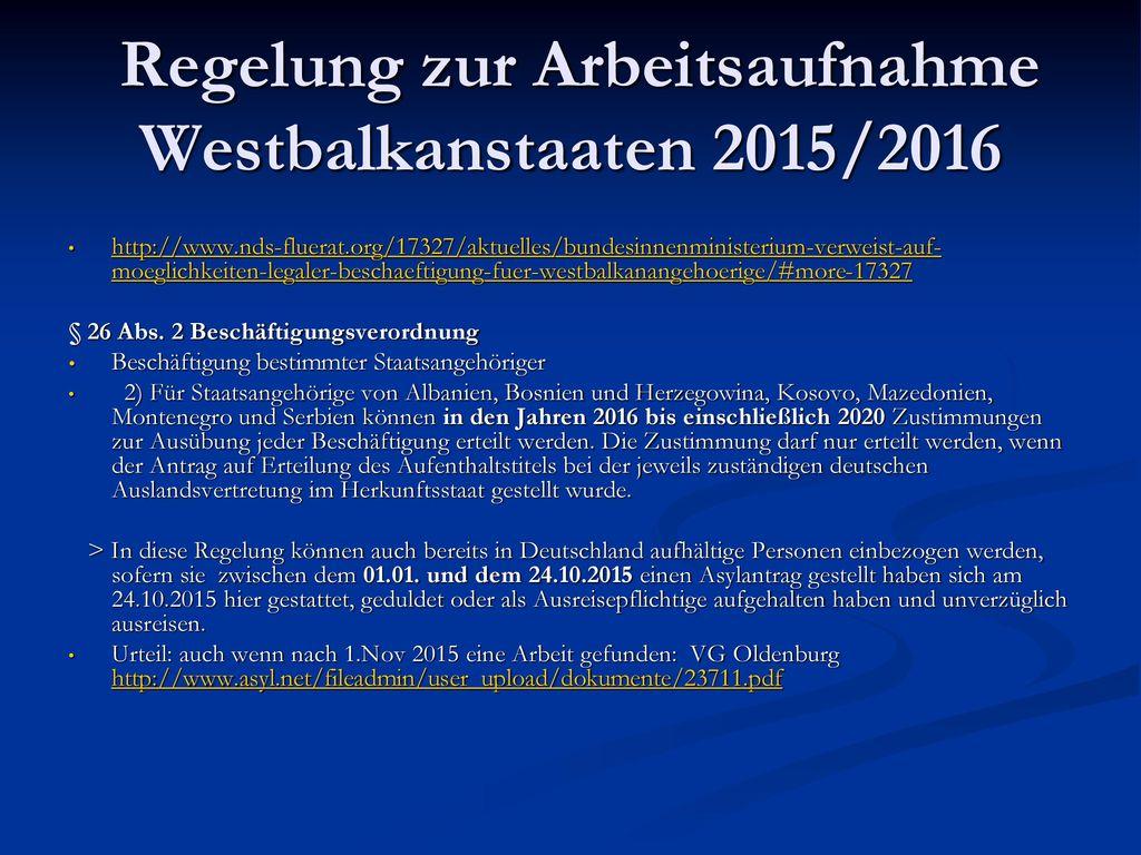 Regelung zur Arbeitsaufnahme Westbalkanstaaten 2015/2016