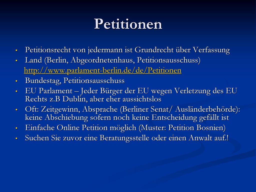 Petitionen Petitionsrecht von jedermann ist Grundrecht über Verfassung