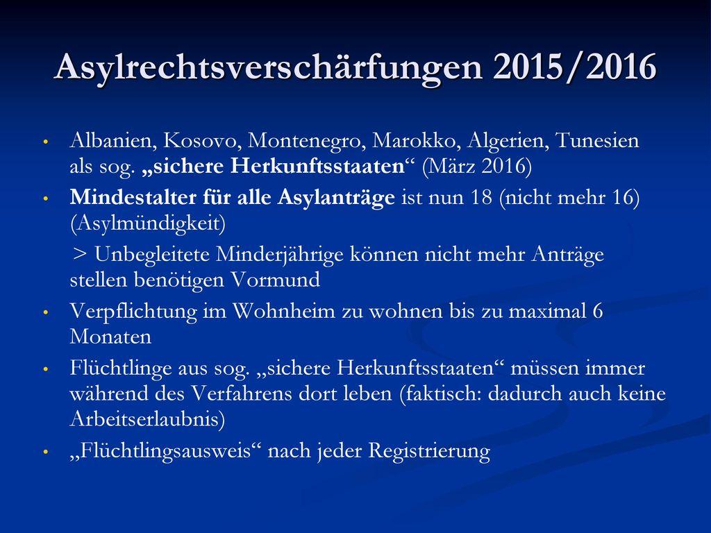 Asylrechtsverschärfungen 2015/2016