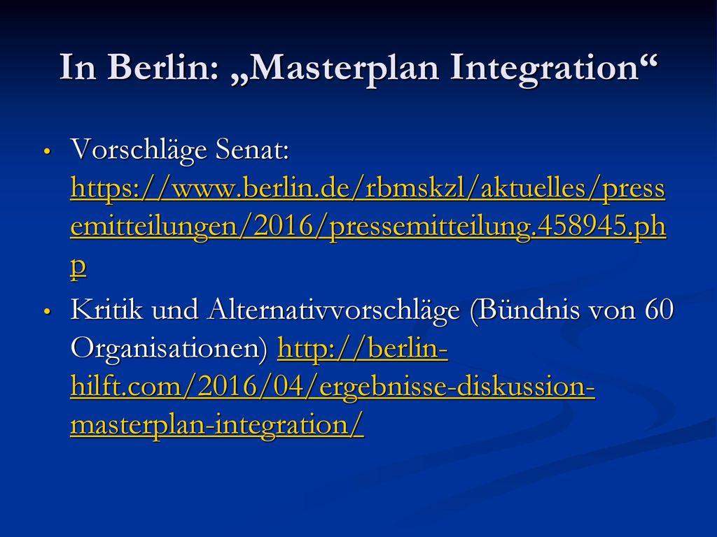 """In Berlin: """"Masterplan Integration"""