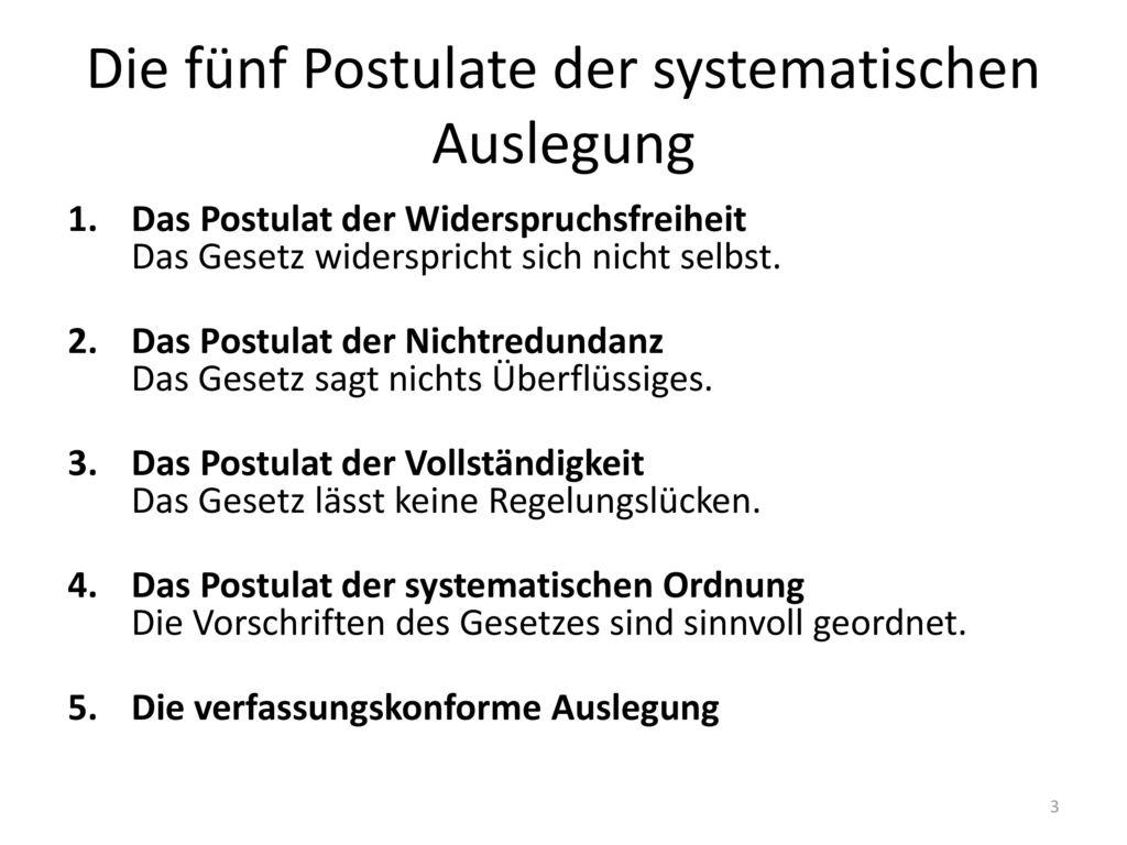 Die fünf Postulate der systematischen Auslegung