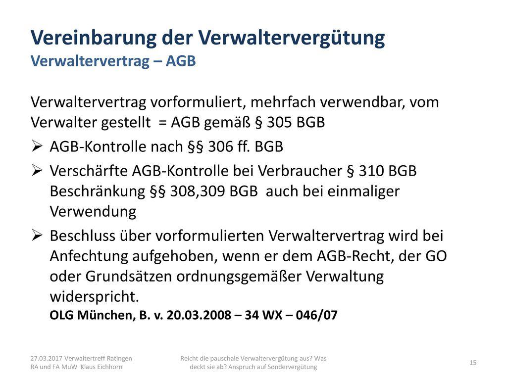 Vereinbarung der Verwaltervergütung Verwaltervertrag – AGB