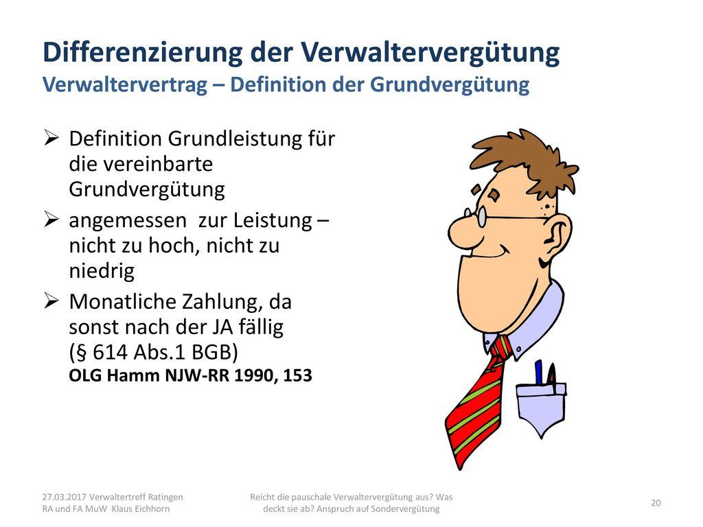 Differenzierung der Verwaltervergütung Verwaltervertrag – Definition der Grundvergütung