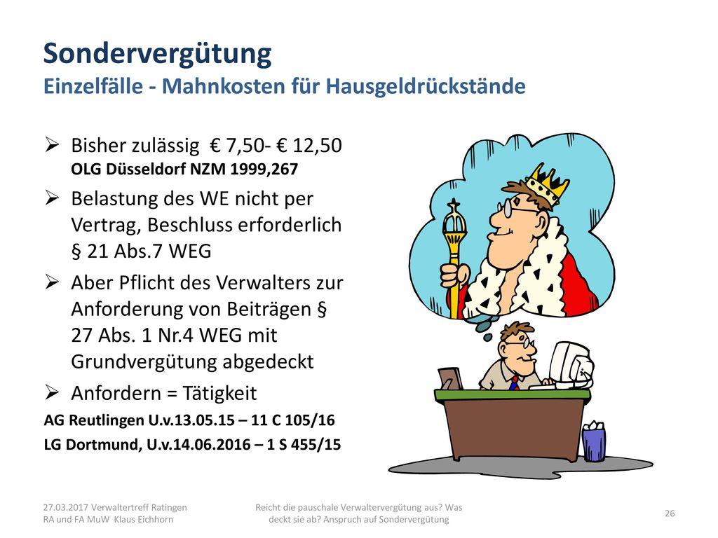 Sondervergütung Einzelfälle - Mahnkosten für Hausgeldrückstände
