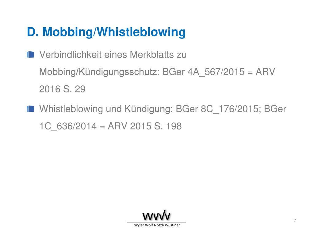 D. Mobbing/Whistleblowing
