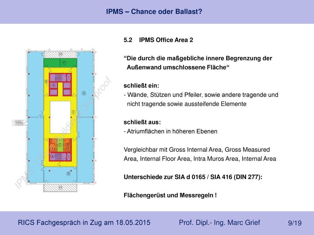 5.2 IPMS Office Area 2 Die durch die maßgebliche innere Begrenzung der. Außenwand umschlossene Fläche