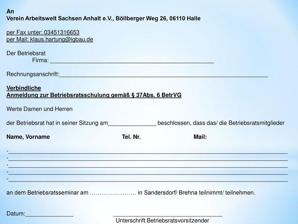 An Verein Arbeitswelt Sachsen Anhalt e. V