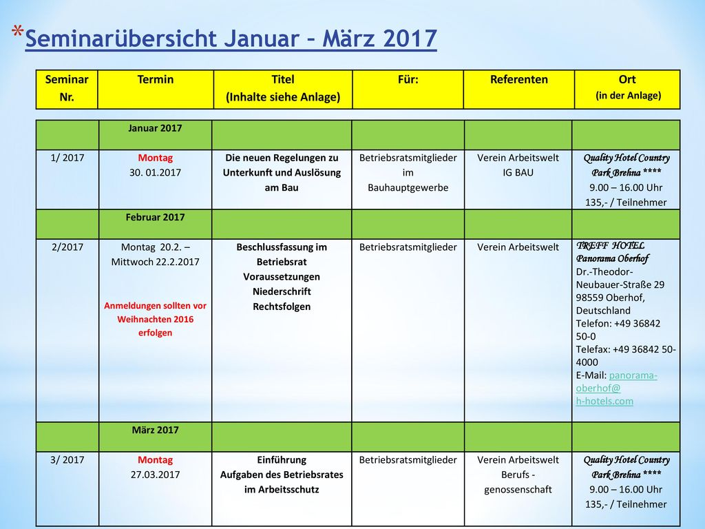 Seminarübersicht Januar – März 2017